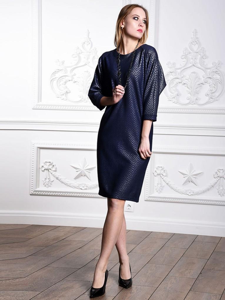 Платье мод. 1446 цвет Синий+серебряный