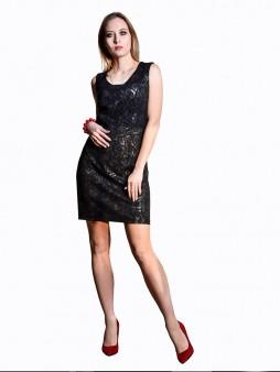 Платье мод. 1658-1 цвет Черный+серебро