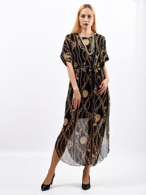 Платье мод. 1688-1 цвет Бежевый+черный