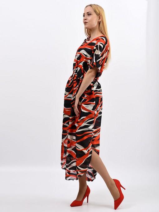 Платье мод. 1688-1 цвет Черный+красный