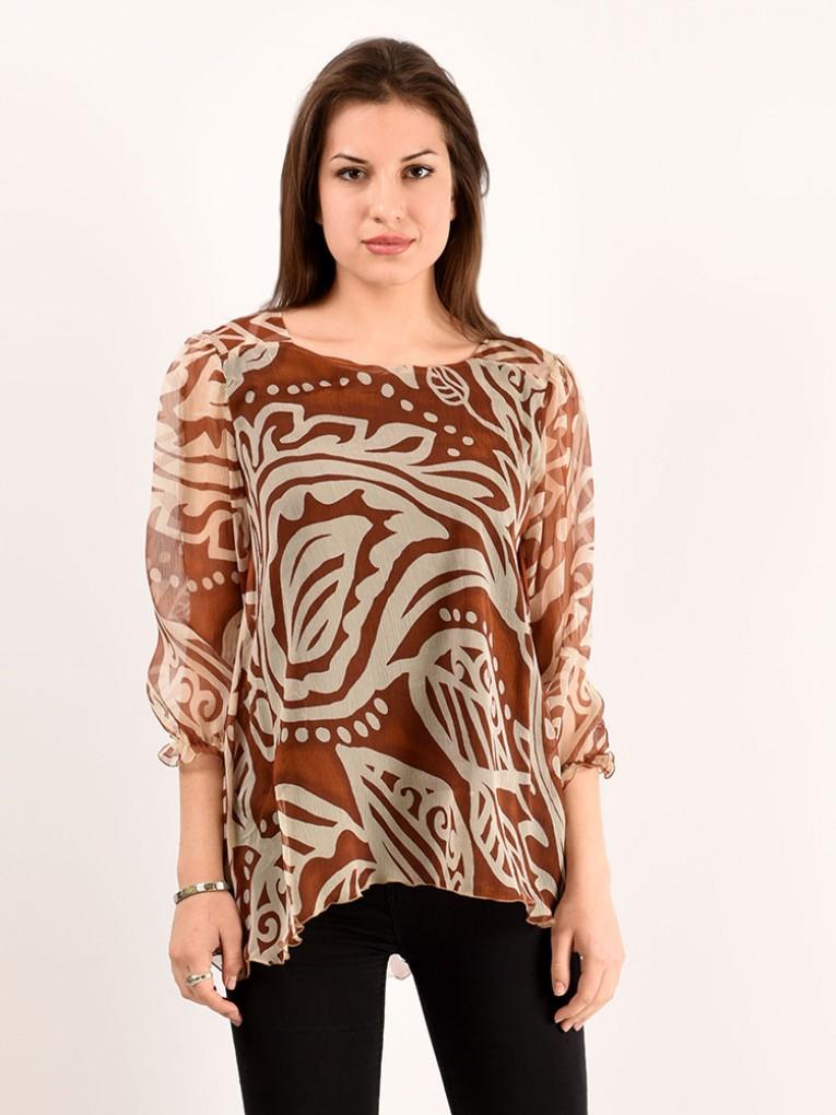 Блуза мод. 6505 цвет Коричневый